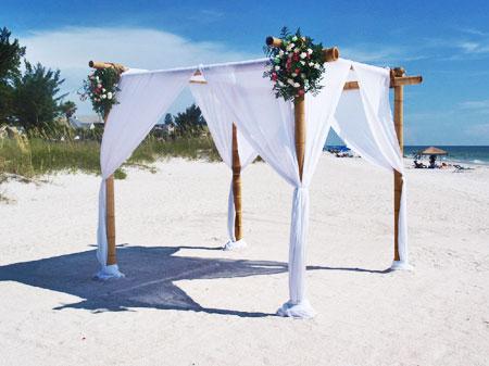 Starfish Runway with Bamboo Arch | Gulf Coast Wedding & Events Rentals
